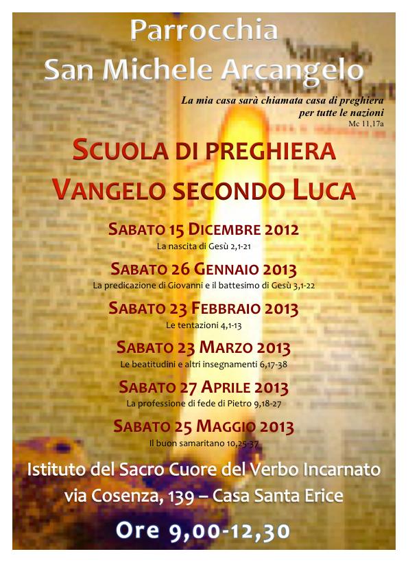 San Michele Data Calendario.Scuola Di Preghiera Parrocchia San Michele Erice